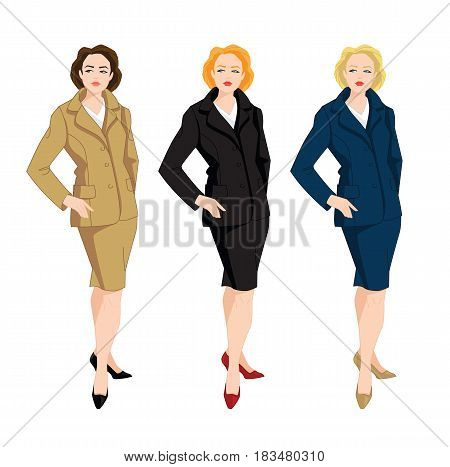 Vector illustration of corporate dress code. Business women in blue, beige and black formal skirt and jacket.