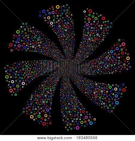 Gear fireworks swirl rotation. Vector illustration style is flat bright multicolored iconic symbols on a black background. Object spiral organized from random pictograms.