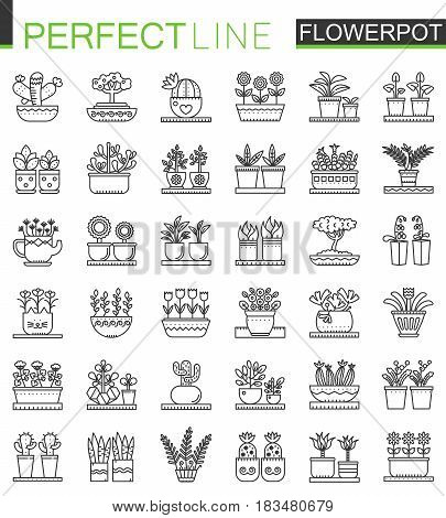 Flowers in pots outline concept symbols. Flowerpot thin line icons. Modern linear style illustrations set