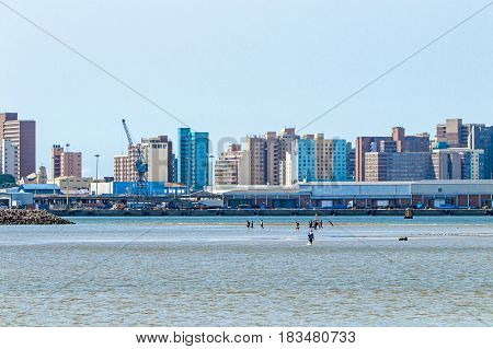 Low Tide In Harbor Against Ccty Skyline In Durban