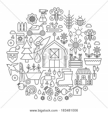 Gardening in circle - concept line vector illustration for cover, emblem, badge. Garden Tools and Equipment thin line icons set