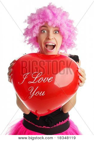 Beautiful woman congratulates with valentine's day isolated on white