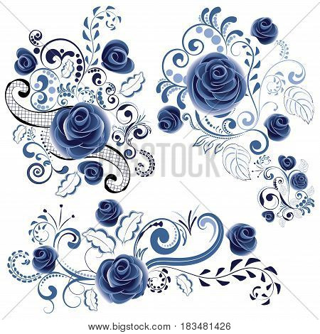 Blue Floral Ornaments