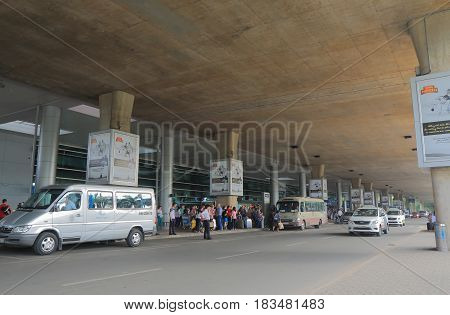 HO CHI MINH CITY VIETNAM - DECEMBER 2, 2016: Unidentified people travel at Ho chi Minh City International airport.