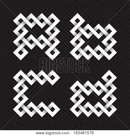 Font of interwoven strips. A, B, C, D white relief letters on a black patterned background.