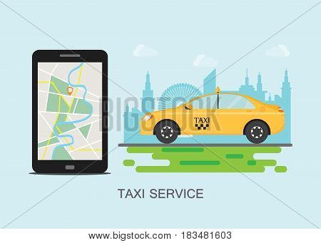 Taxi cab and mobile phone with map on city background taxi service concept flat style illustration.