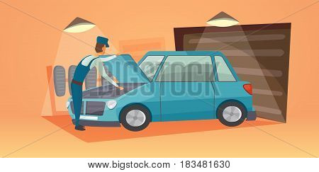 car repair vector illustration. Workers in car service tire service and auto business. Cartoon garage isolated
