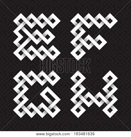 Font of interwoven strips. E, F, G, H white relief letters on a black patterned background.