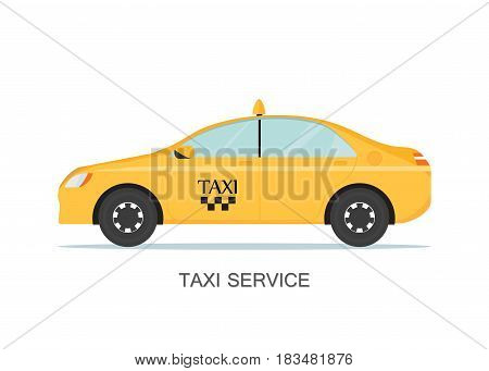 Taxi cab isolated on white background taxi service concept flat style illustration.