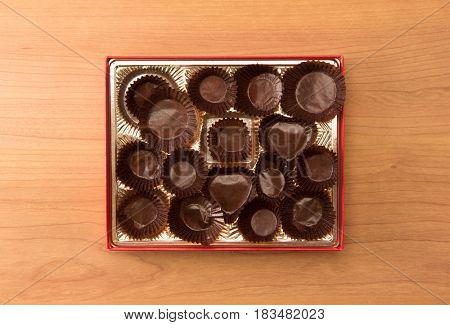 Rapid consumption. Chocolate addiction. Empty Box of chocolates or candy.