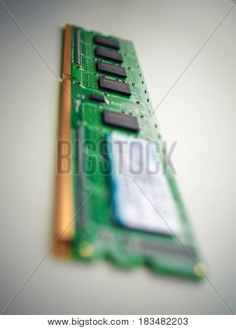 HO CHI MINH, VIETNAM - 26 APRIL 2017. Computer component board RAM Memory with gold conductor coatings