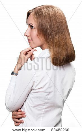 Young woman with good mainted fair hair. Over white background