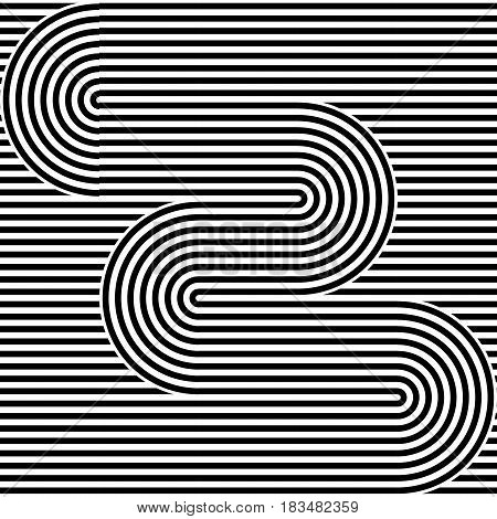 Striped abstract seamless pattern background tile. Black and white retro stripy vector illustration. Textile fabric design element.