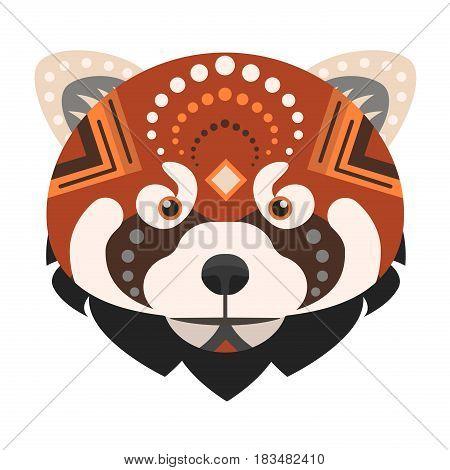Red panda Head Logo. Fire fox Vector decorative Emblem