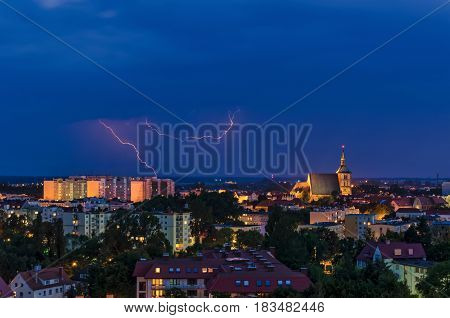 LIGHTNING IN THE NIGHT SKY - Over the rooftops of Kołobrzeg