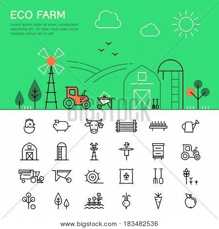 Harvester, tractor, farm buildings, farming equipment animals and plants