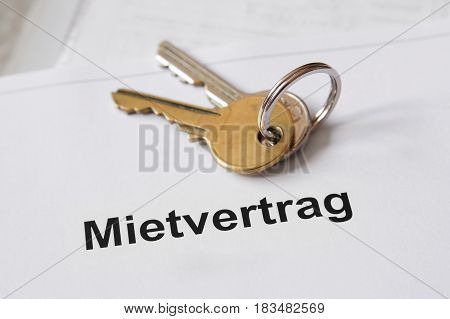 Mietvertrag German lease agreement document with set of house keys