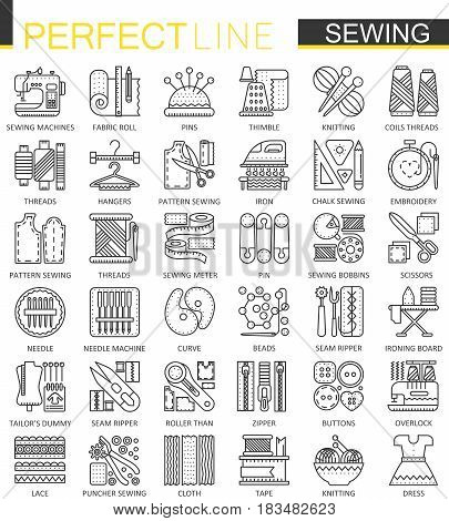 Sewing equipment outline concept symbols. Needlework thin line icons. Modern linear style illustrations set