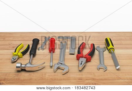 3d tool on a wooden table. 3d image. White background.