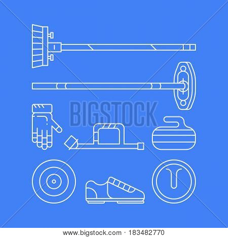 Curling equipment: stome, broom shoes gloves Vector concept
