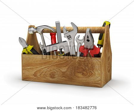 Tool in a wooden box. 3d image. White background.
