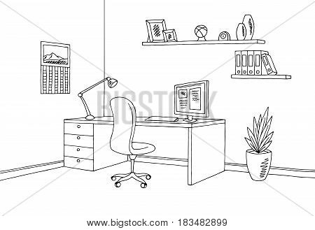Office graphic black white interior sketch illustration vector