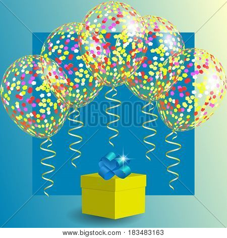 Gift box and transparent balloons with spangles confetti and streamers. Background for Christmas Holiday and Birthday. Vector illustration EPS10