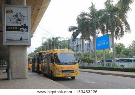 HO CHI MINH CITY VIETNAM - DECEMBER 2, 2016: Shuttle bus parks at Ho chi Minh City International airport
