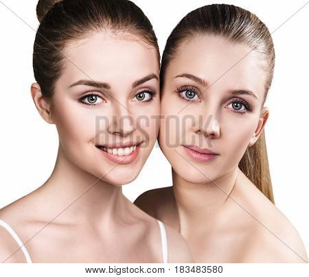 Collage of two young women with healthy clear skin.