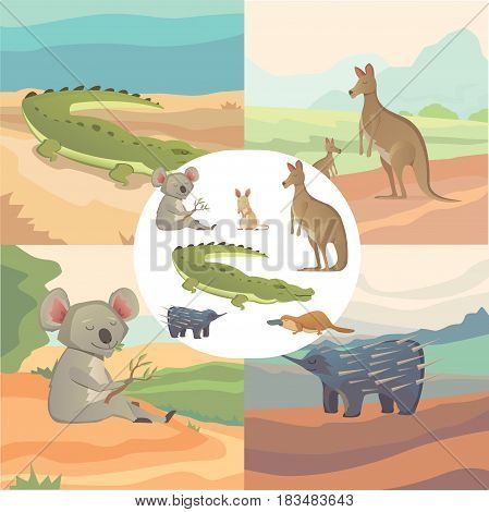 Vector Set Of Cartoon Australian Animals Isolated eps10