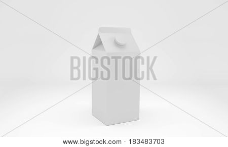 Blank white 3d cardboard box for milk or juice. 3d rendering