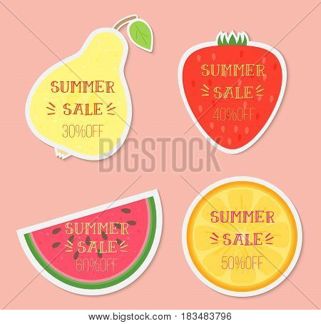 Set of vector illustrations of summer sale words on a pear, strawberry, watermelon, and orange.