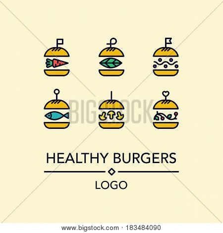 Burger lBurgers with organic vegetables, beans, mushrooms. For grill cafe or restaurant.ogo in linear style.