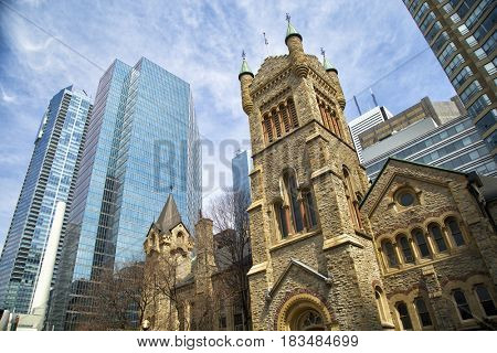 St-Andrew's presbyterian church in a middle of business building in Toronto, Ontario