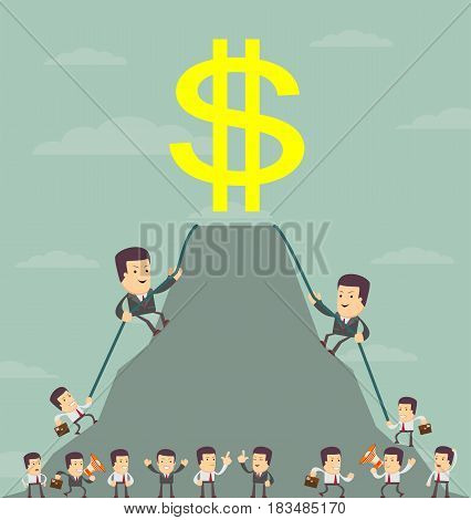 King of the hill. Businessman is wants to get the prize , Successful man , Business concept - vector illustration