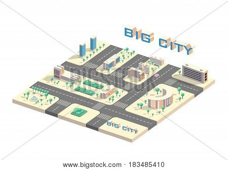 Vector Isometric 3d city view, collection of buildings blocks, low poly megapolis infographic
