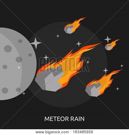 Meteor Rain Conceptual Design | Great flat illustration concept icon and use for space, universe, galaxy, astrology, planet and much more.