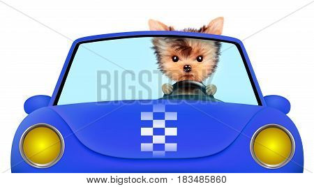 Funny puppy sitting in the blue cabriolet isolated on white background. Car rental and buying concept concept. 3D illustration with clipping path