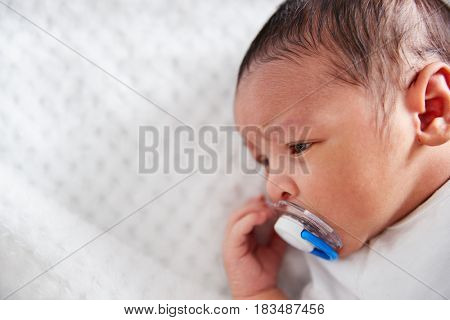 Close Up Of Newborn Baby In Nursery Cot With Dummy
