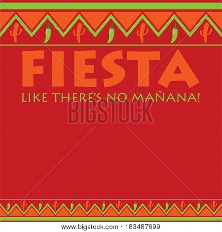 Mexican Pattern Fiesta Card In Vector Format. Translation