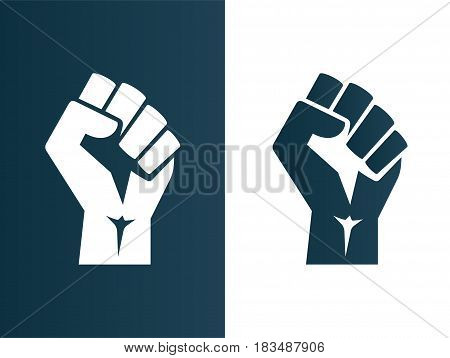 isolated vector illustration Raised fist black logo icon poster