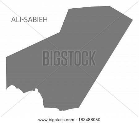 Ali Sabieh Djibouti Map grey illustration silhouette