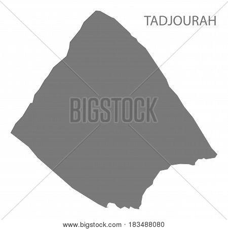 Tadjourah Djibouti Map grey illustration silhouette shape