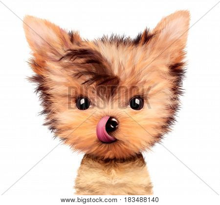Adorable yorkshire terrier sitting licking nose. Realistic 3D illustration of yorkshire terrier with clipping path