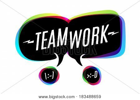Colorful bubbles, icons or cloud talk with text Teamwork. Bubbles or cloud talk different shapes for business and discussion themes. Vector Illustration