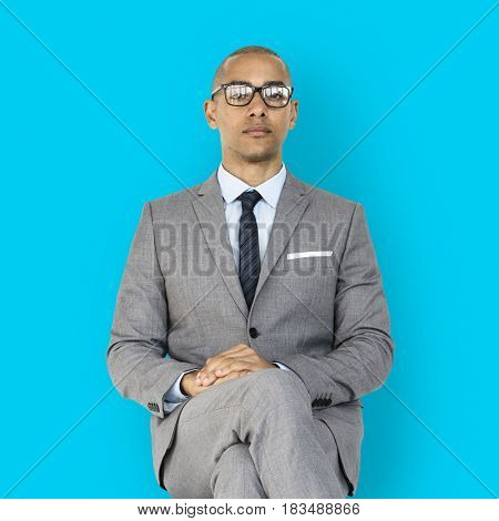 African Descent Business Man Sitting Concept