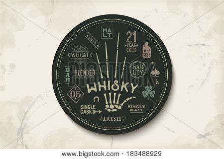 Coaster for whiskey and alcoholic beverages. Vintage drawing for bar, pub and whiskey themes. Black circle for placing whiskey glass over it with lettering, drawings. Vector Illustration