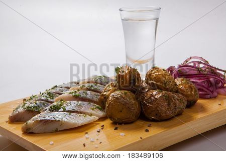 Snack Plate With Herring And Potatoes, Appetizer For Vodka