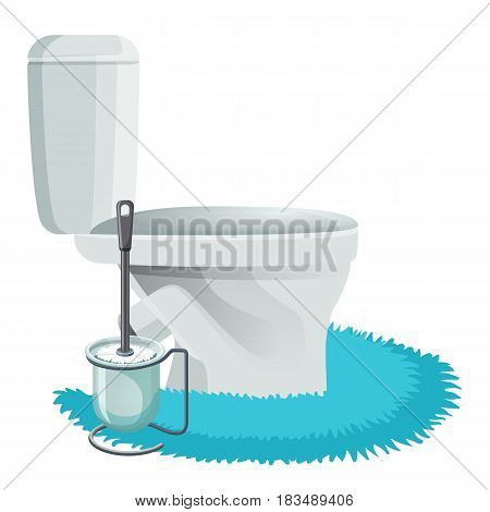 White toilet bowl on blue rug side view and cleaning brush icons isolated vector illustration. Modern bathroom elements