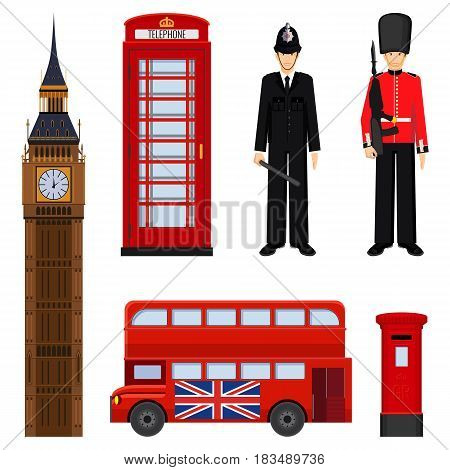 Traditional London sightseeing set vector illustration isolated on white. Big Ben, double decker bus, british guardian and policeman, phone booth and post mail box